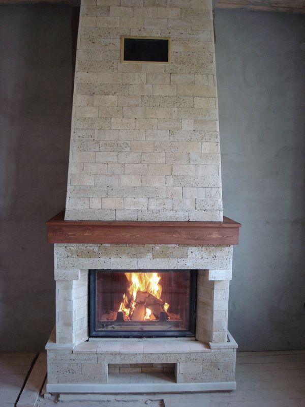 Керамический камин с чугунной топкой дымоход 130 180